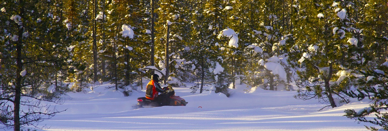 Snowmobiling on Michigan's Upper Peninsula.
